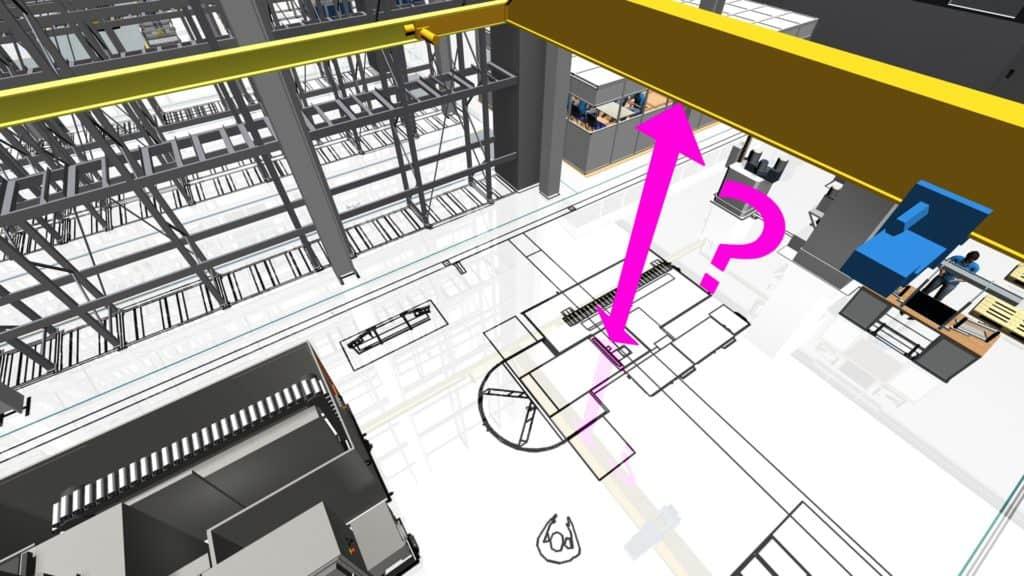 Anwendungsfall für 3D-Layoutplanung zur Kollisionsprüfung mit Portalkran