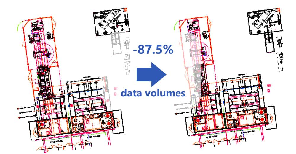 Illustration of 2D CAD data reduction for layout planning