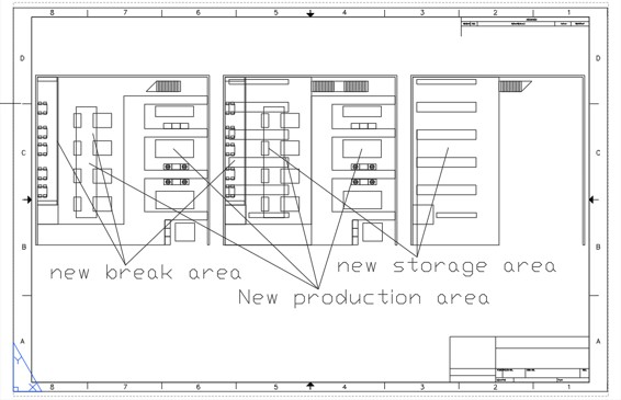 2D CAD Drawing of a factory floor plan