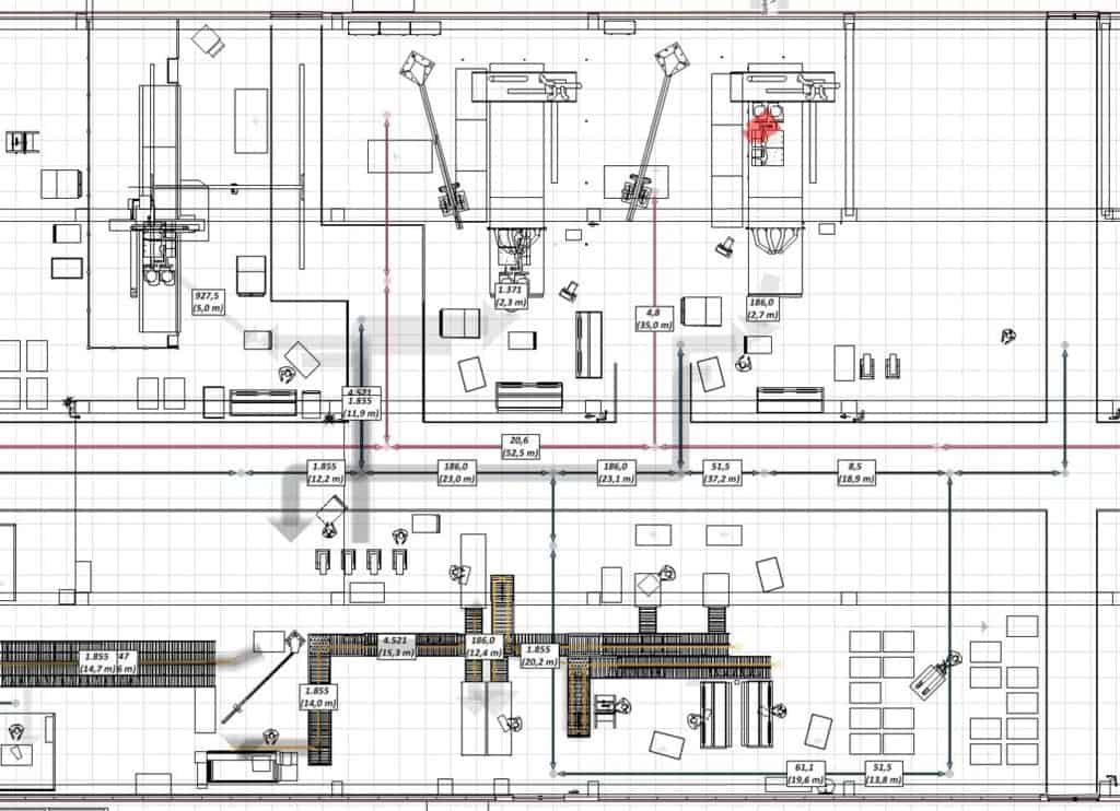 2D layout from material flow planning with visTABLE at d&b Audiotechnik