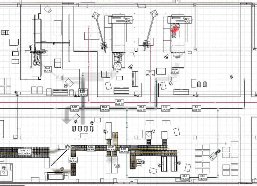 2D-Layout aus Materialflussplanung mit visTABLE bei d&b Audiotechnik