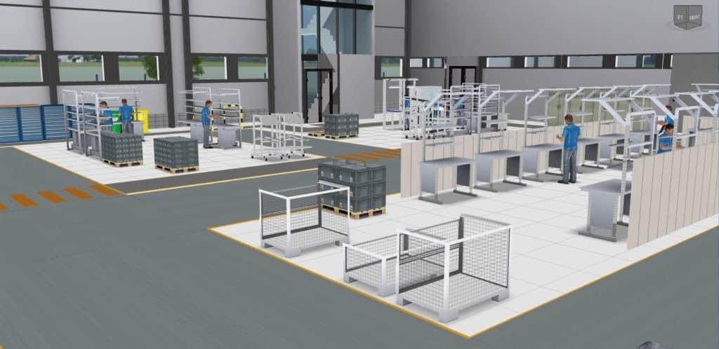 3D-Ansicht Montage in einem Fabriklayout in der Software visTABLE®touch