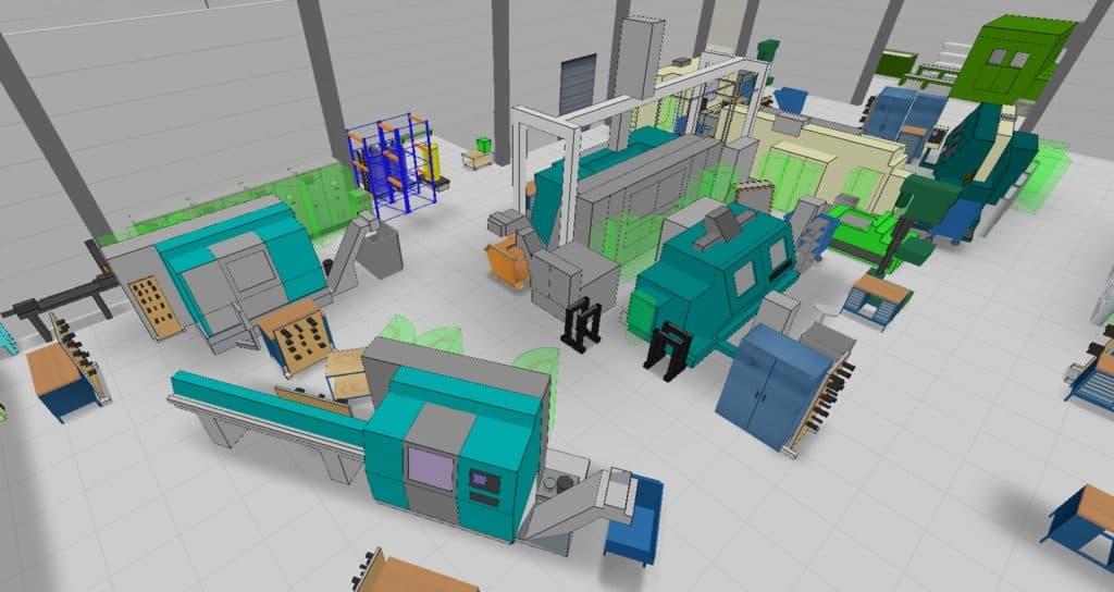 Beispiel für 3D-Aufstellplanung Fabrik mit visTABLE bei Staufen