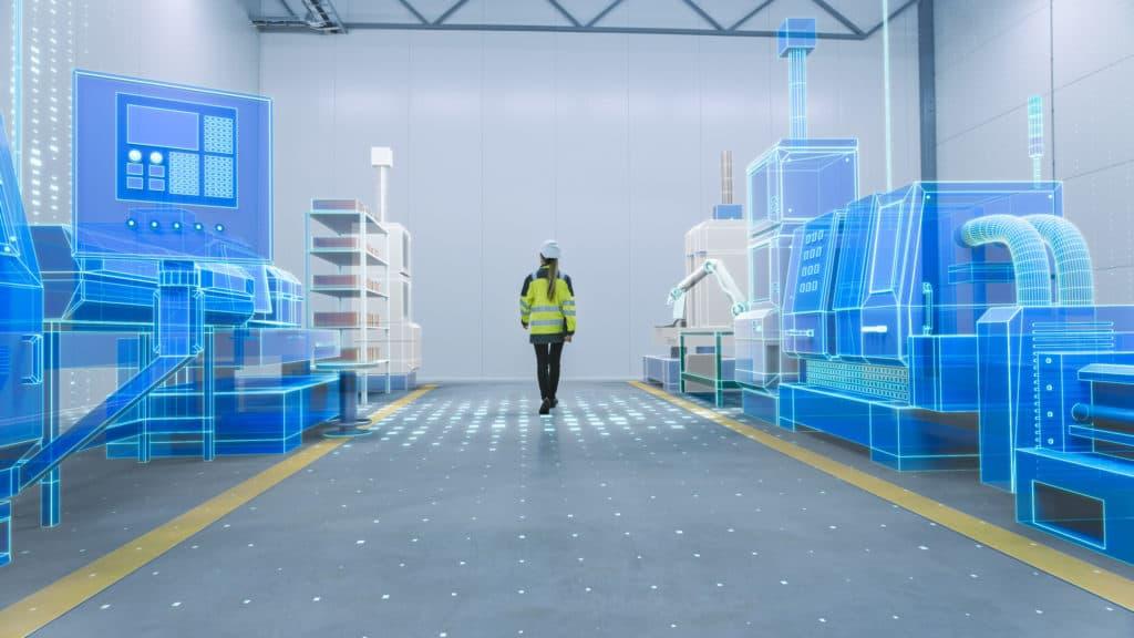 3D CAD Visualisierung eines Fabriklayouts zur Visualisierung der Aufstellung