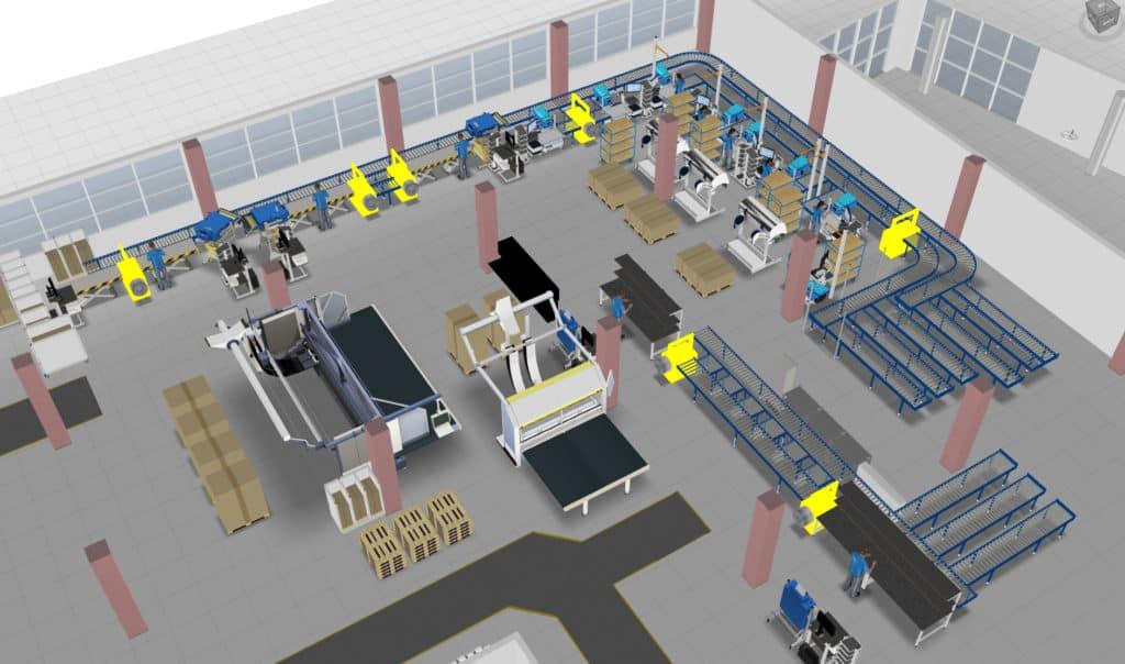 3D Fabrikmodell einer Abteilung bei VEGA Grieshaber in visTABLE®touch