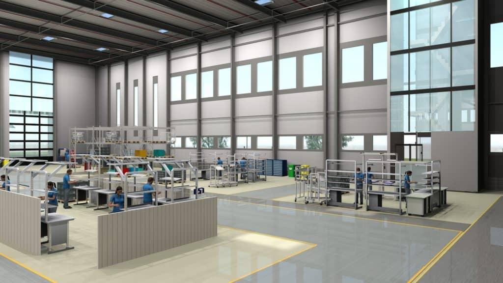 Rendering eines 3D Fabrikmodells basierend auf dem Layout einer Fabrikplanungssoftware