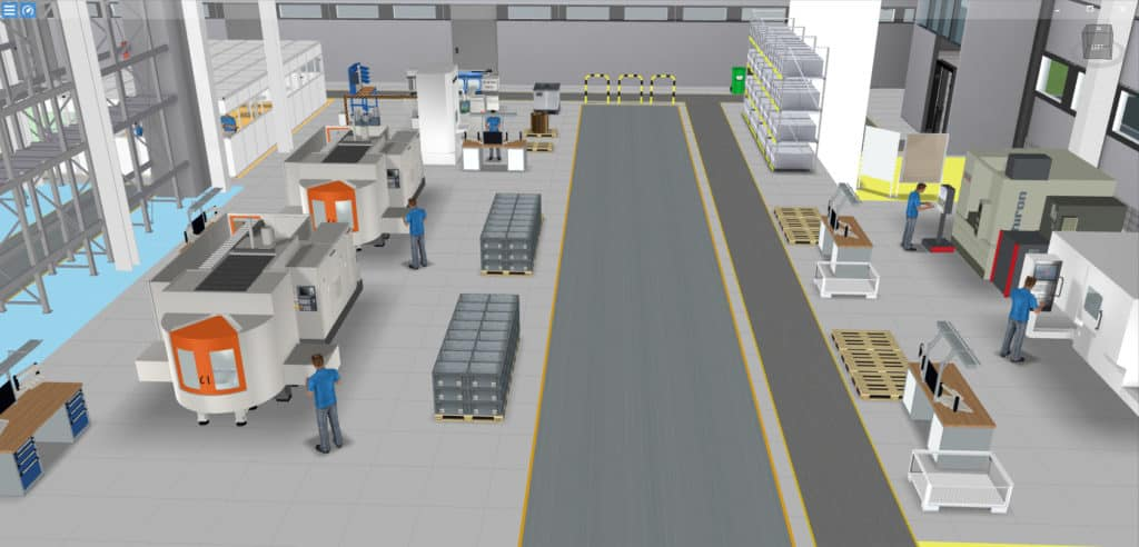Example of 3D factory model of a manufacturing company in software visTABLE®touch