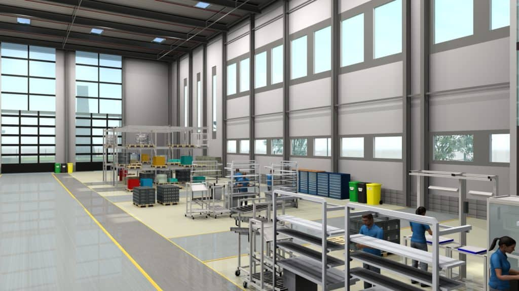 Rendering of a planned 3d factory layout