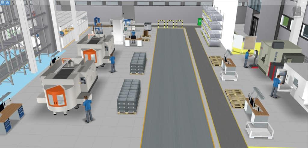 Beispiel für 3D-Fabrikmodell eines produzierenden Unternehmens in Software visTABLE®touch
