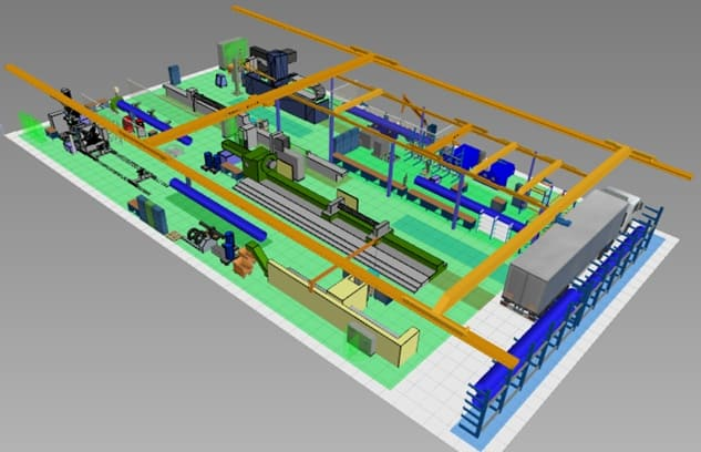 3D model of a manufacturing area in visTABLE
