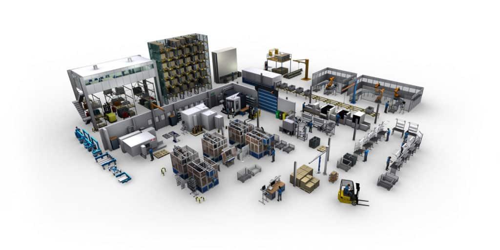 umfassende 3D Modellbibliothek für die Fabriklayoutplanung