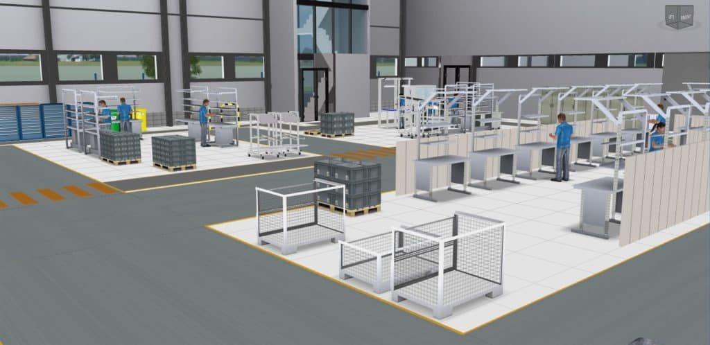 3D view Assembly in a factory layout in the visTABLE®touch software