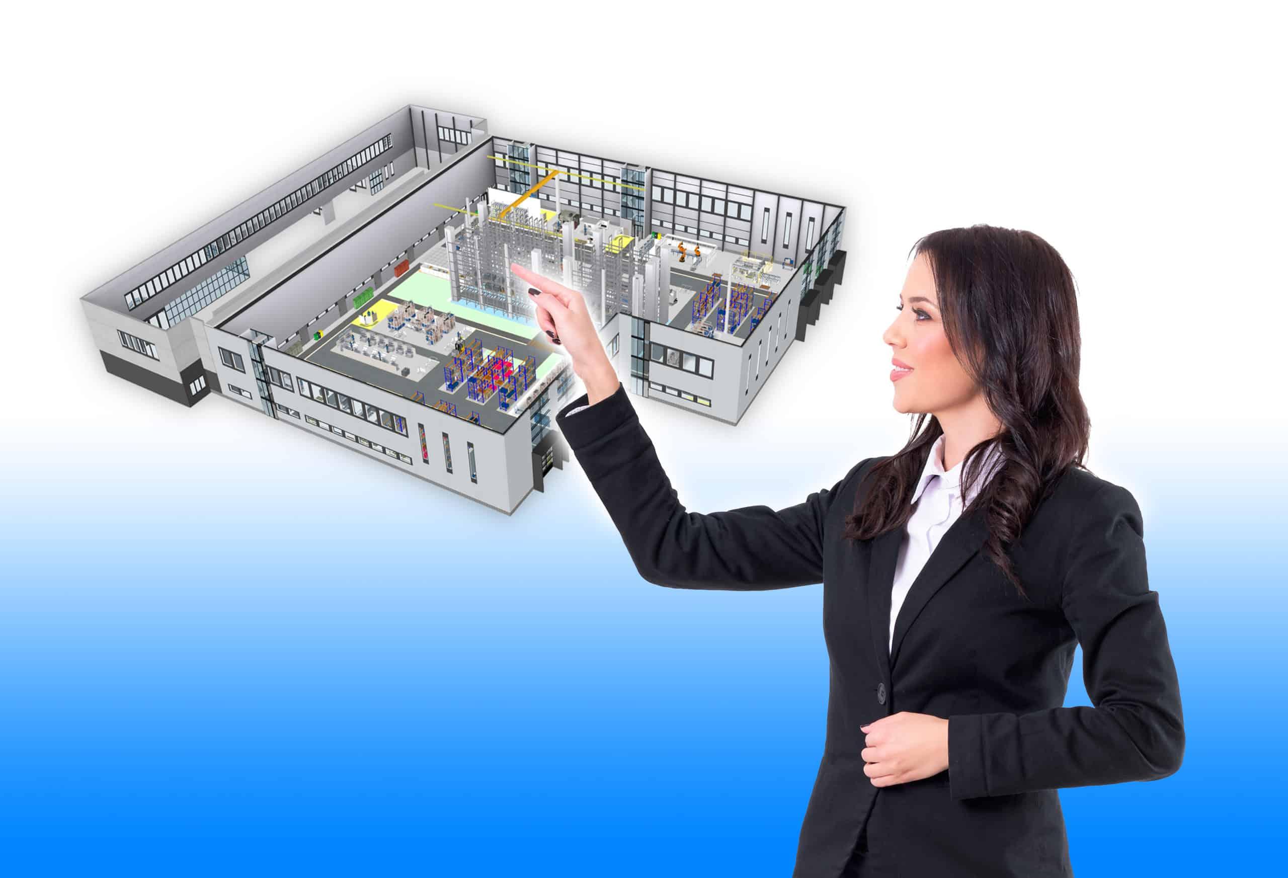 3D-Visualisierung Fabrik in Präsentation durch Planerin