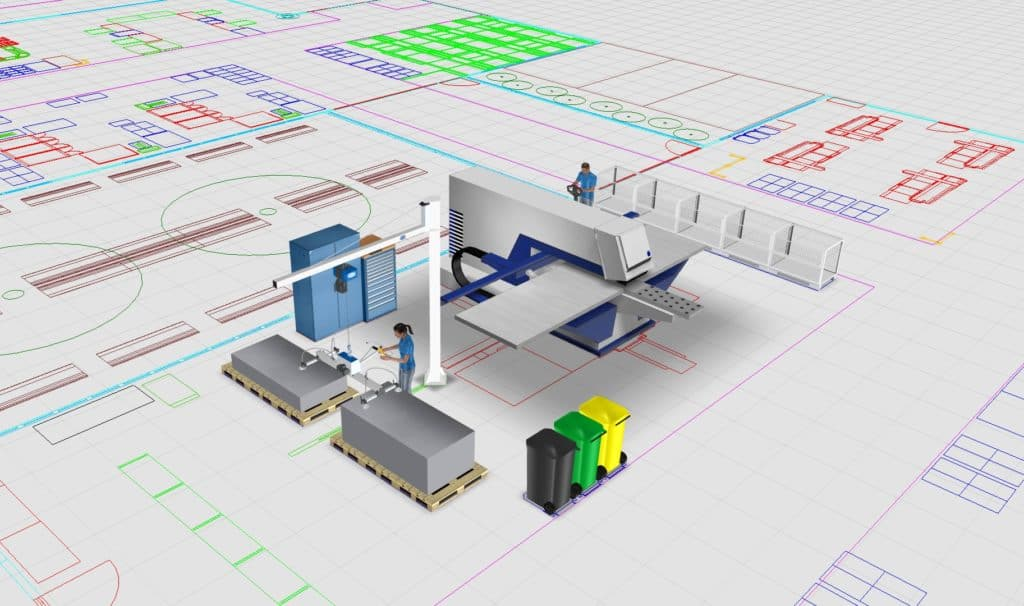 Example of a manufacturing cell comprising 3D elements (simply placed on the CAD floor plan)