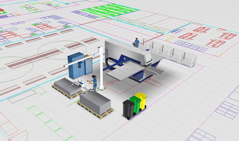 Dreidiemsionale Planungsobjekte können auf ein zweidimensionales Fabriklayout aufgesetzt werden. Zeitgemäße Fabrikplanungssoftware macht das möglich.