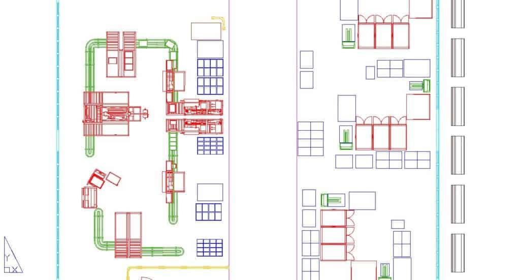 Das Fabriklayout ist häufig in zweidimensionalen CAD-Zeichnungen digitalisiert.