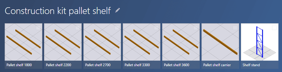 Quite simple kit for pallet shelfs consists of spars and stands.