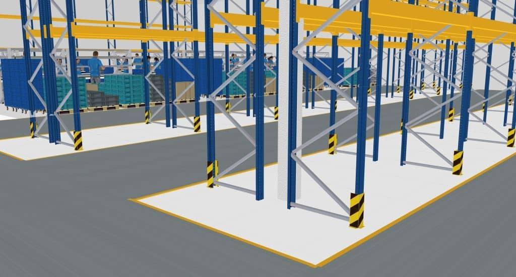 3D Abbildung eines Lagerbereiches im Fabrikmodell der Firma HelloFresh in visTABLE®touch
