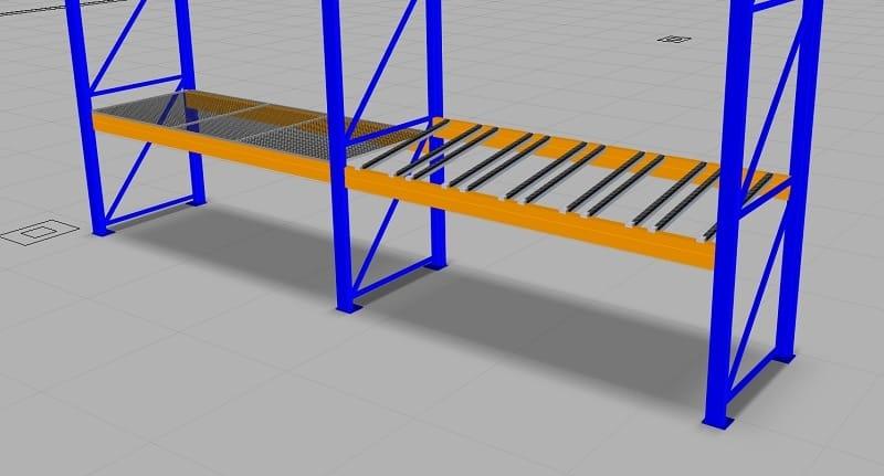 Durch Ergänzung mit Objekten der Modellbibliothek lassen sich die im Baukasten vorhandenen Holme der Palettenregale indivdualisieren.
