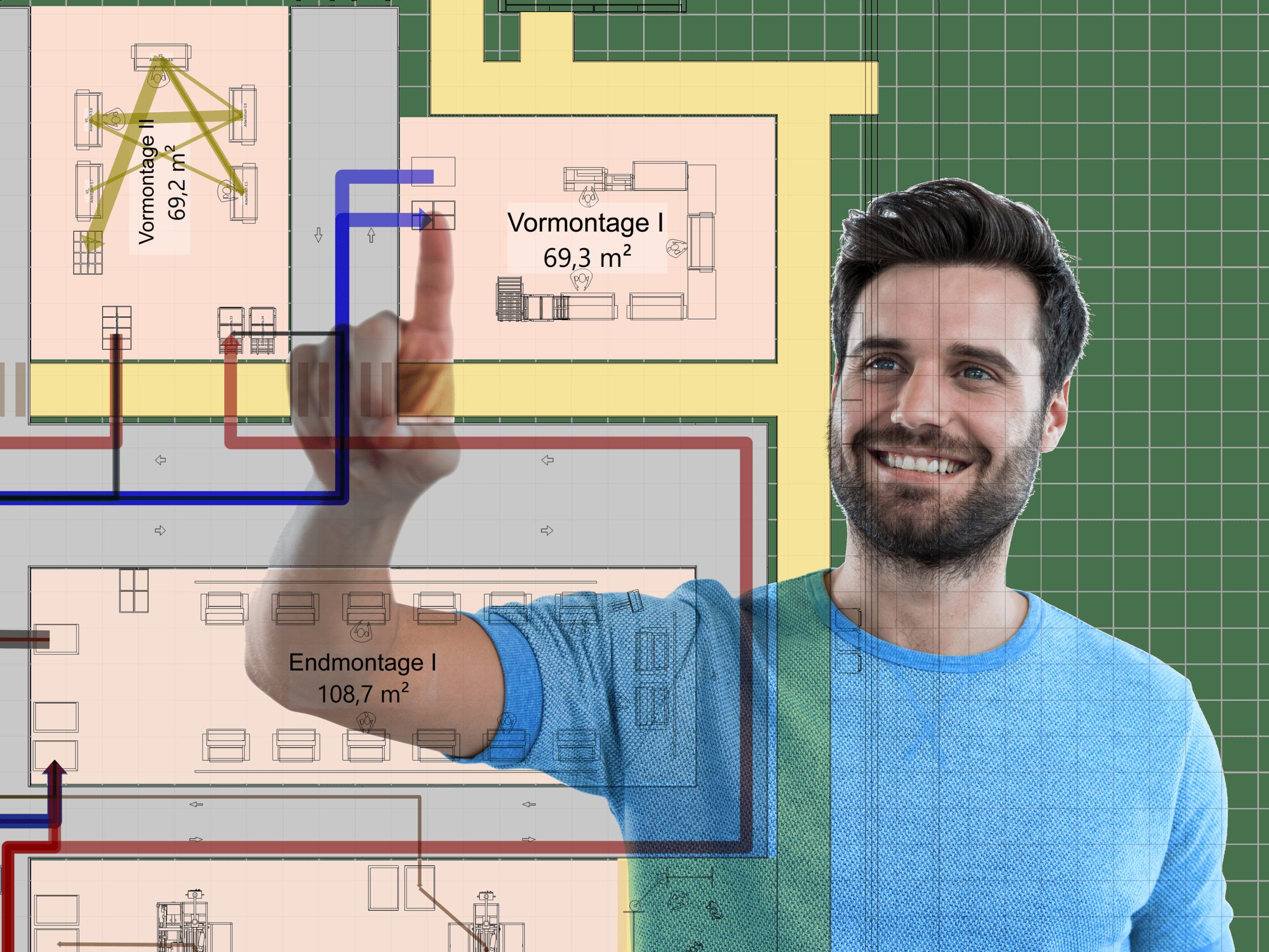 zufriedener Planer nutzt einfach zu bedienendes Planungswerkzeug visTABLE