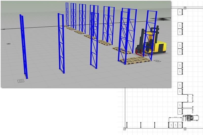 Im ersten Schritt wird der Stützenabstand für das Palettenregal festgelegt. Das kann unter Zuhilfenahme eines 2D-CAD-Grundrisses des geplanten Lagerbereichs geschehen.