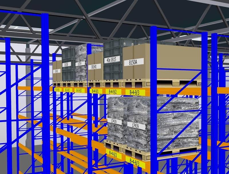 Ein 3D-Regalspiegel verleiht den virtuellen Durchflug durch das Palettenregal einen realistischen Eindruck.
