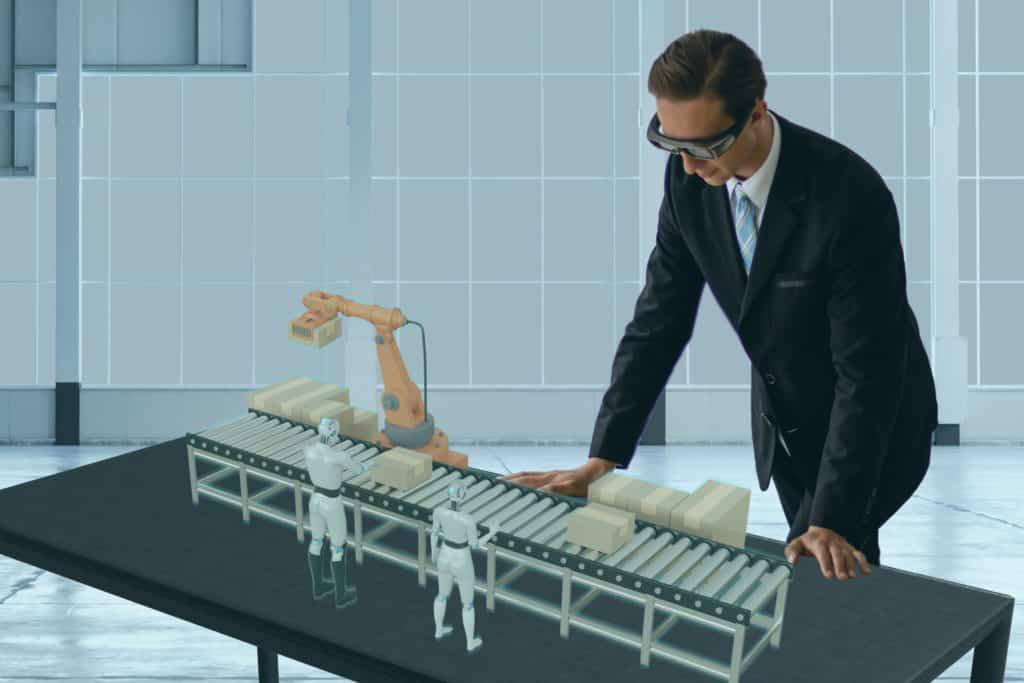AR unterstützte Simulation einer teilautomatisierten Roboterlinie