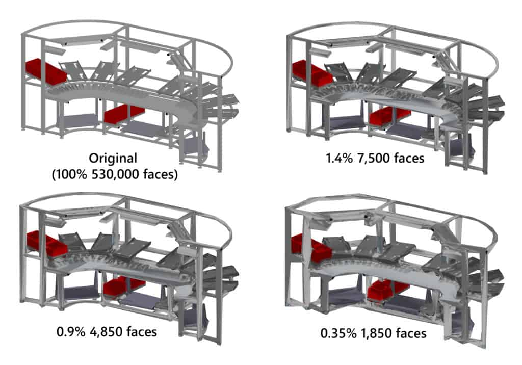 example automatic simplification of 3d complex CAD data of an assembly workstation