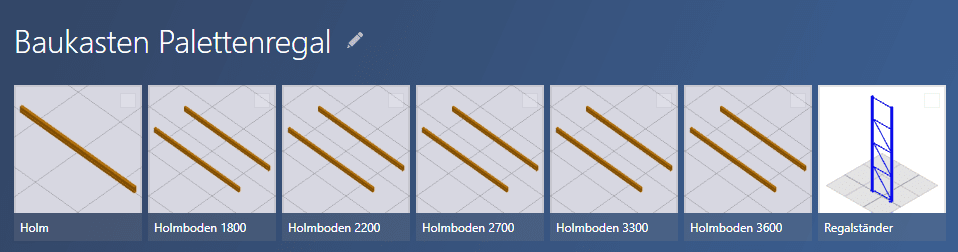 Ein ganz einfacher Baukasten für Palettenragle besteht aus Holmen und Ständern.
