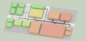 Blocklayout mit Materialflüssen