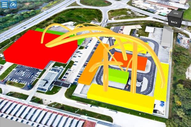 Visualisierung und Bewertung eines digitalen Fabrikmodells, welches Layout und Prozessinformationen kombiniert.