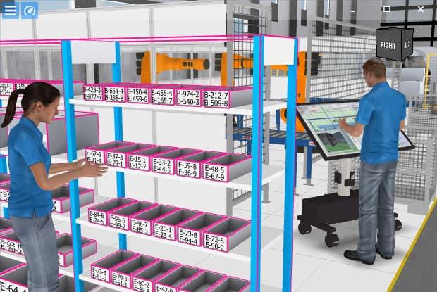 Virtuelle Produktion verknüpft Daten mit dem digitalen Fabriklayout.