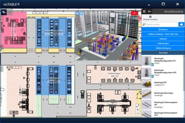 Intuitive Benutzeroberfläche der Fabrikplanungssoftware visTABLE®