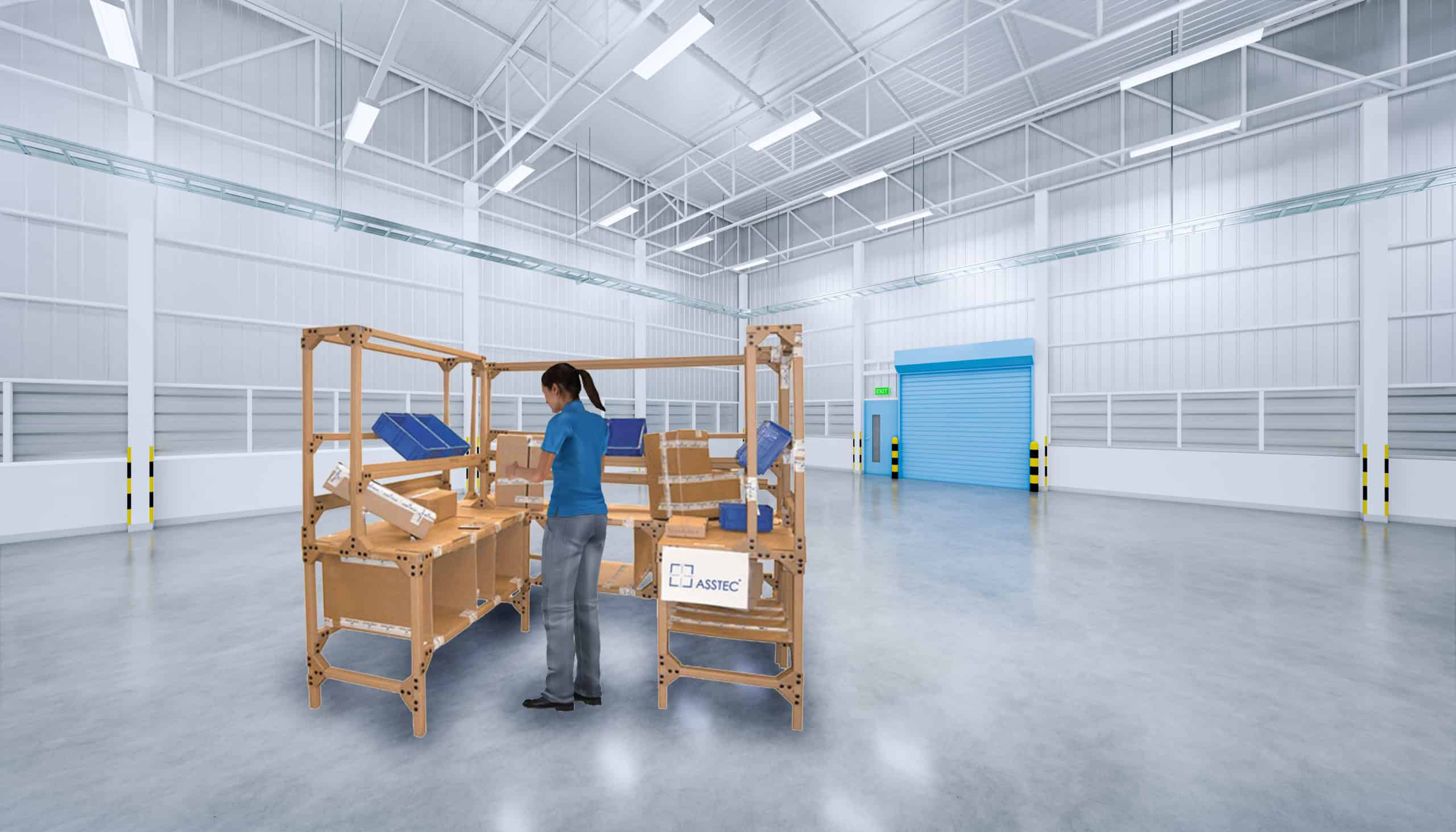 illustration of cardboard engineering in factory hall