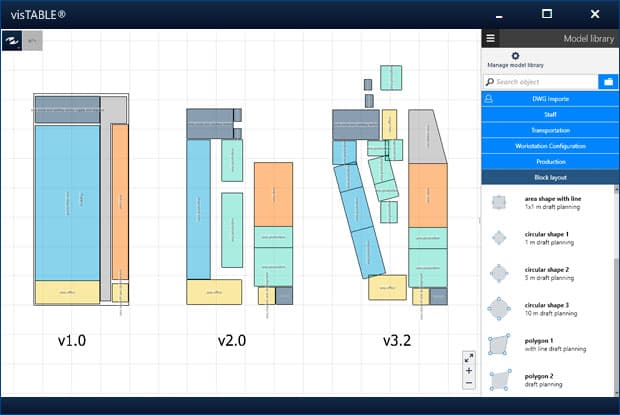 Plant layout design software enables fast planning of variants using block layouts
