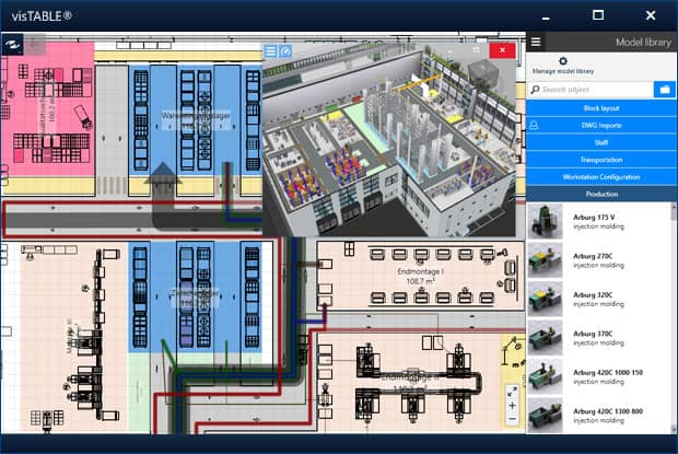 Intuitive user interface of the visTABLE® factory planning software