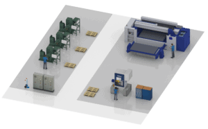 The 3D fine layout of a manufacturing area