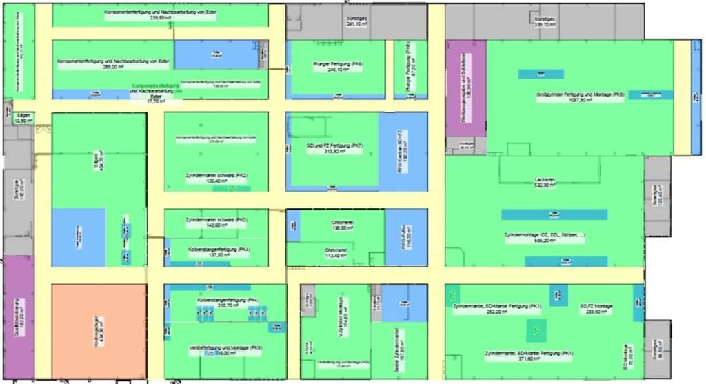 Beispiel für Flächen- und Materialfussplanung mit visTABLE bei Staufen