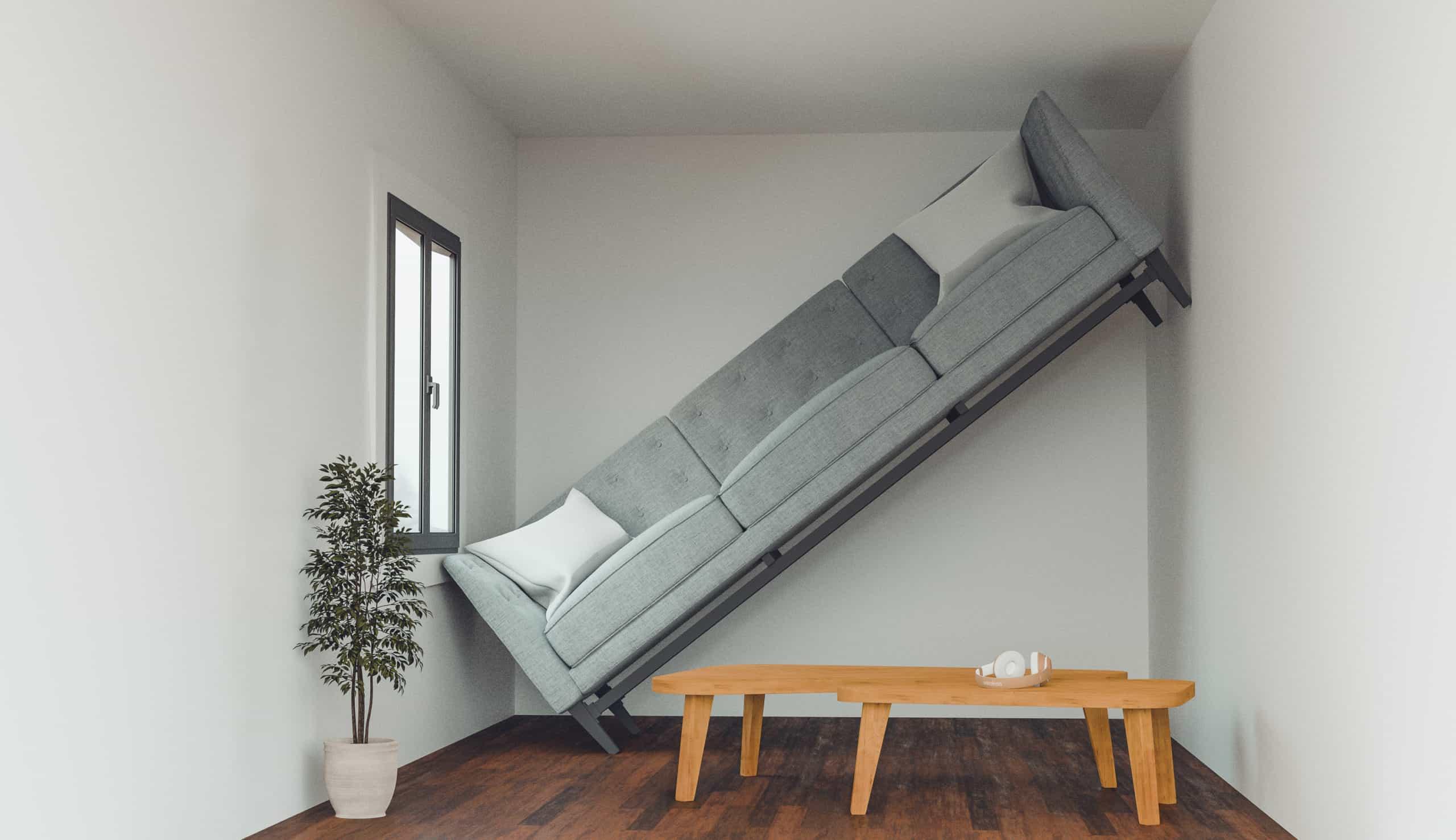 Prinzipdarstellung Fehler in der Konzeptplanung bei Bestimmung Flächenbedarf Wohnzimmer für Sofa