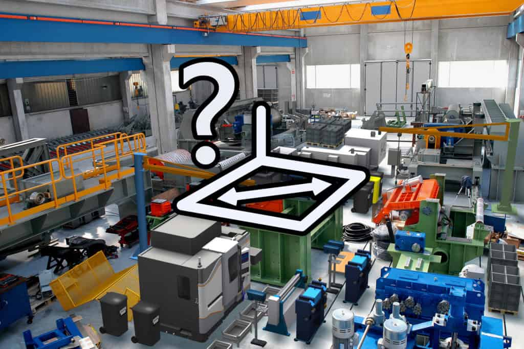 illustration of floorspace dimensioning in a factory full of equipment