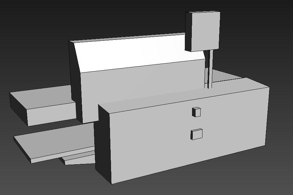 vereinfachtes 3D-Modell einer Maschine modelliert auf Basis von Fotos