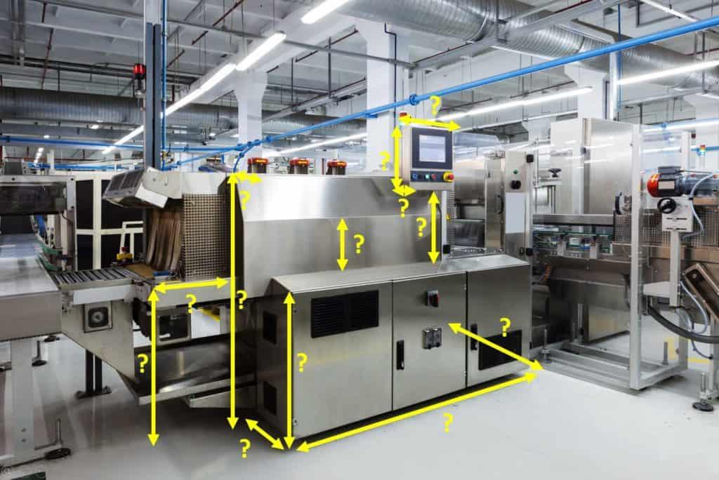 Beispiel für Maßangaben in Foto einer Maschine in der Fabrik