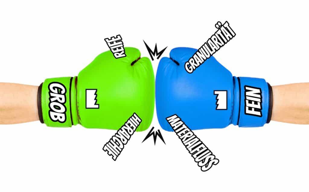 Illustration zu den verschiedenen Perspektiven auf Groblayout und Feinlayout in der Layoutplanung