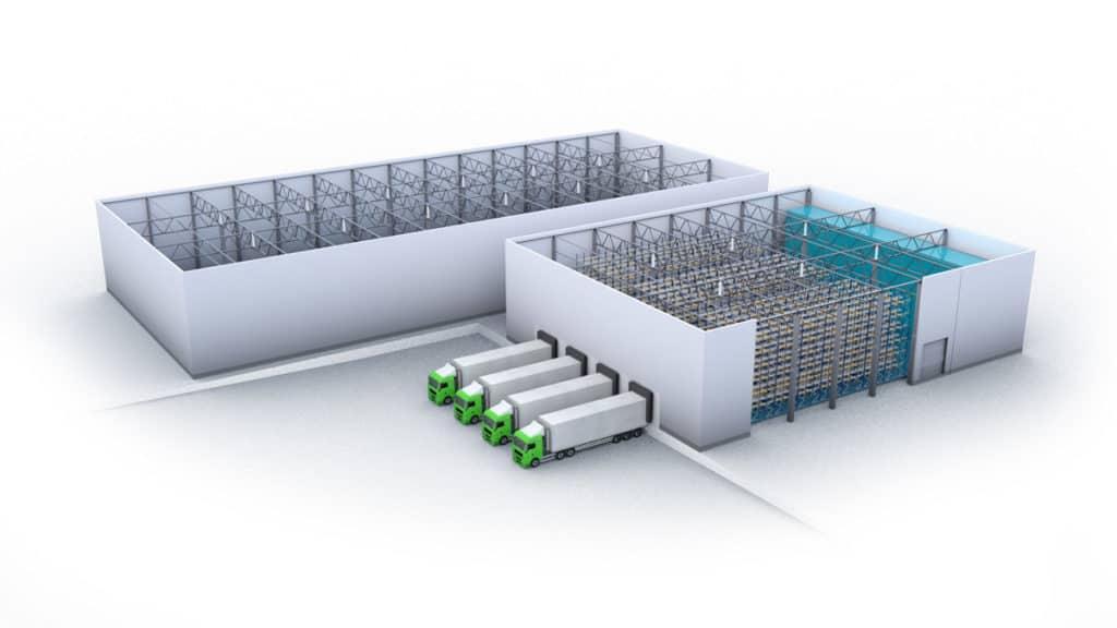 3D-Perspektive eines externen Kaltlagers