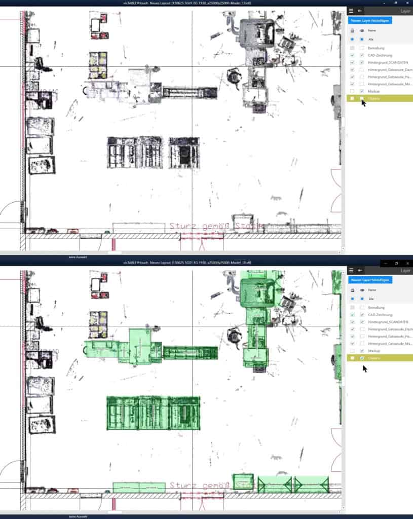 Sectional view of a point cloud as a basis for planning the installation of equipment