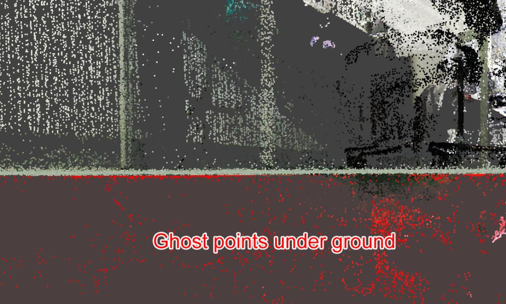 Ghost points in point cloud from a laser scan