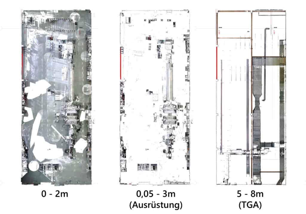 Schnittsegmente durch Punktwolke zur Visualisierung unterschiedlicher Planungsinformationen