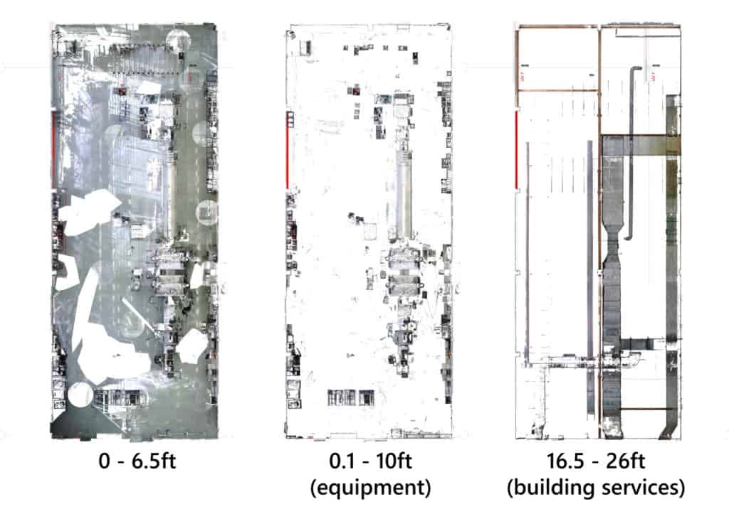 Section segments through point cloud for visualization of different planning information