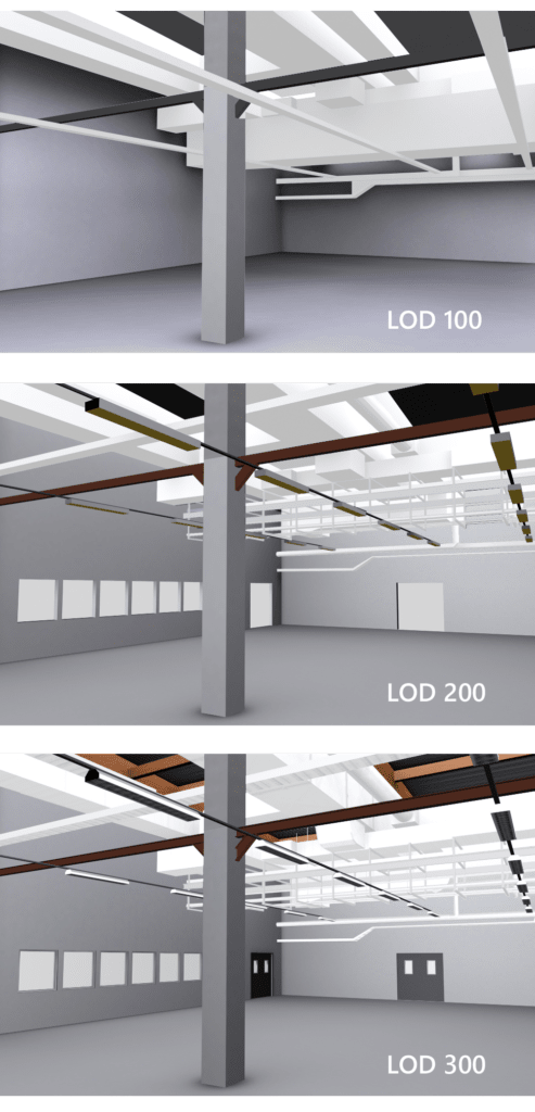 Levels of detail for 3d models of factory buildings