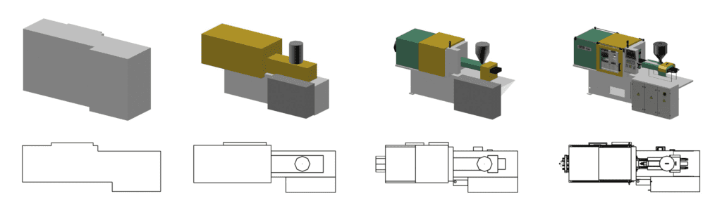 The level of detail for 3d models of the factory equipment is relevant for the rough and the fine layout
